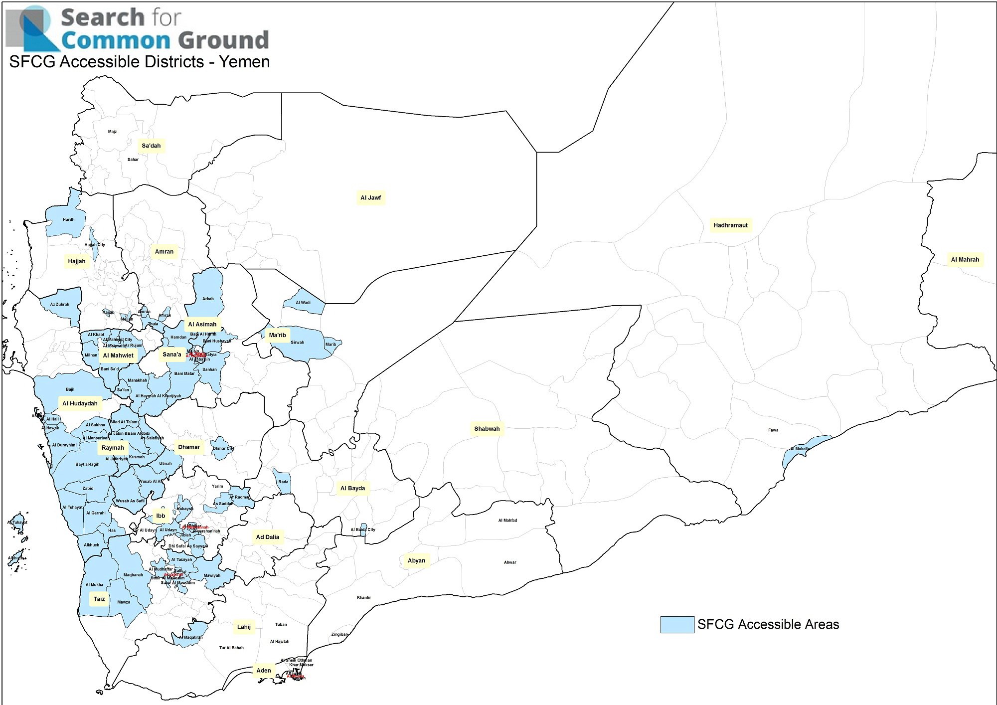 This map shows in blue the districts where we can currently operate, in the midst of the ongoing conflict.