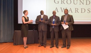 Sandra Melone applauds as the three Central African Republic religious leaders, Nicolas Guérékoyame Gbangou, Imam Oumar Kobine Layama, Archbishop Dieudonné Nzapalainga (from left to right), as they accept their Common Ground Awards.