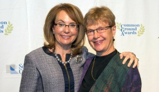 Awardees, Rep. Gabrielle Giffords and Carolyn Lukensmeyer (from left to right), pose for a picture.