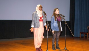 Amina Iro and Hannah Halpern (from left to right) both inspire and entertain the audience with their slam poetry.
