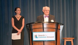 Search for Common Ground Board Chairman, Thomas J. Manley, welcomes the audience to the 2014 Common Ground Awards.