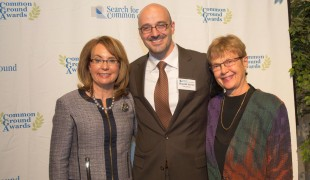 Search for Common Ground President & CEO, Shamil Idriss (center), poses with Rep. Gabrielle Giffords and Carolyn Lukensmeyer (from left to right).