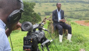 Zamuka contestant Jean de Dieu Sayinzoga during the filming of the show. Jean de Dieu went on to win season 2 with his business plan to start a chicken farm.