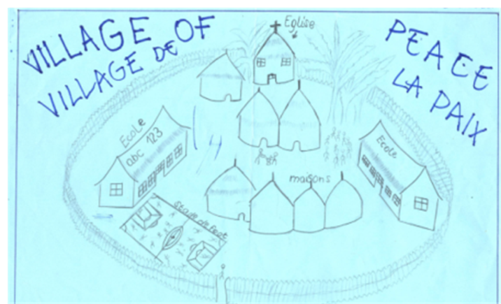 """A drawing by a 14-year-old boy from Kitchanga, titled """"Village of Peace"""""""