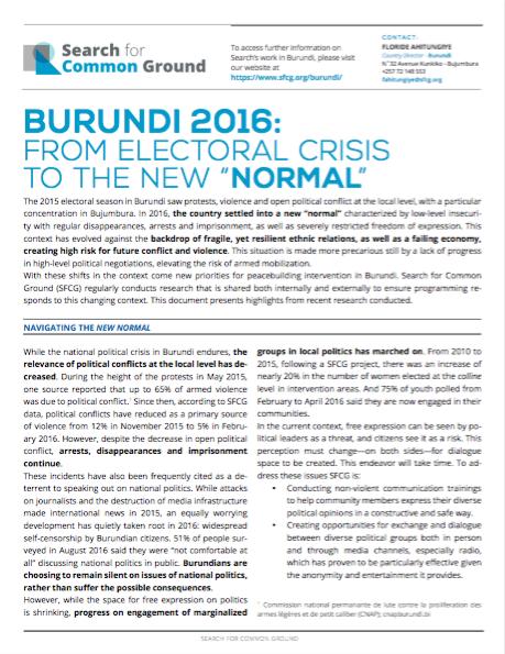 Burundi Conflict Analysis